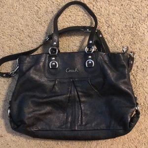 Black Leather Coach crossbody purse